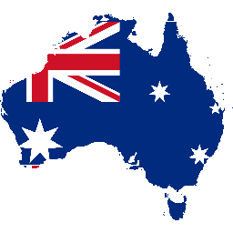 Outline of Australia filled with Flag