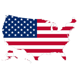 Outline of USA filled with Flag